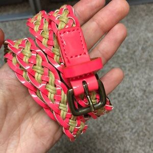 J Crew pink patent braided belt!